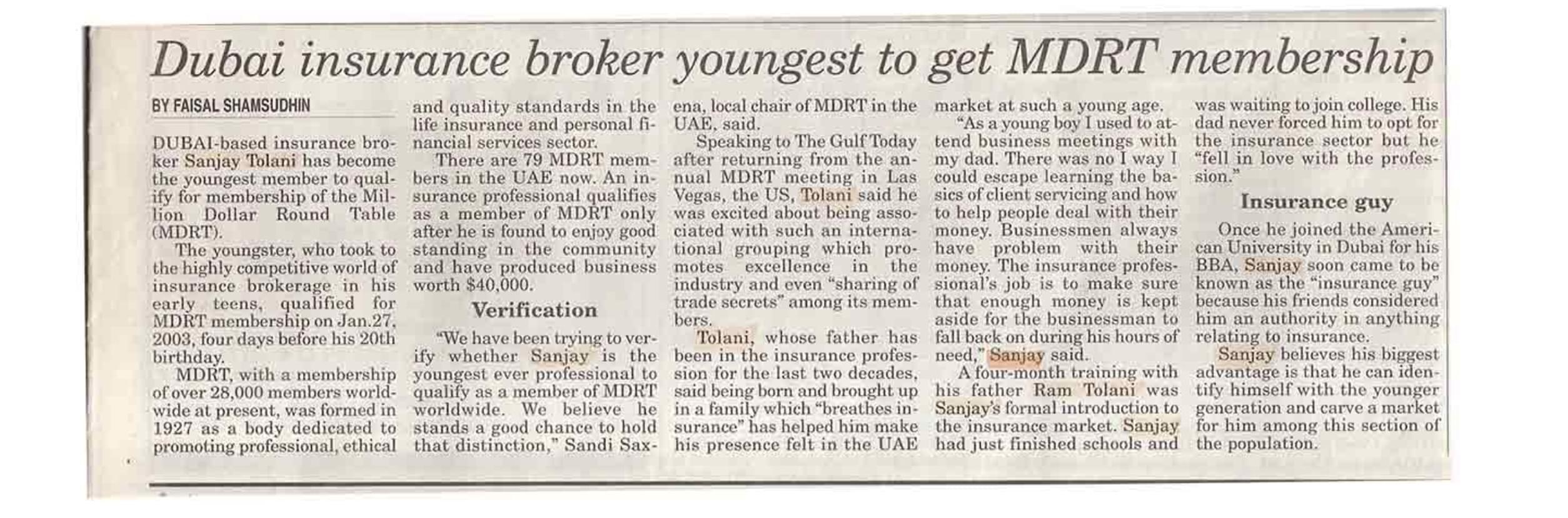 DUBAI INSURANCE BROKER YOUNGEST TO GET MDRT MEMBERSHIP